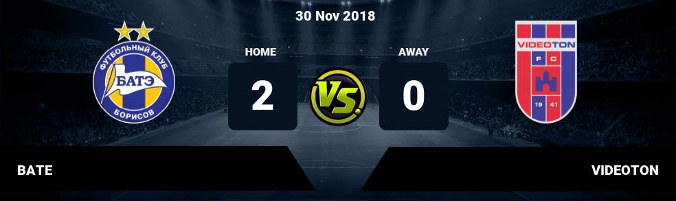 Prediksi BATE vs VIDEOTON 30 Nov 2018