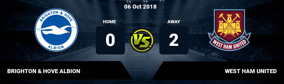 Prediksi BRIGHTON & HOVE ALBION  vs WEST HAM UNITED 06 Oct 2018