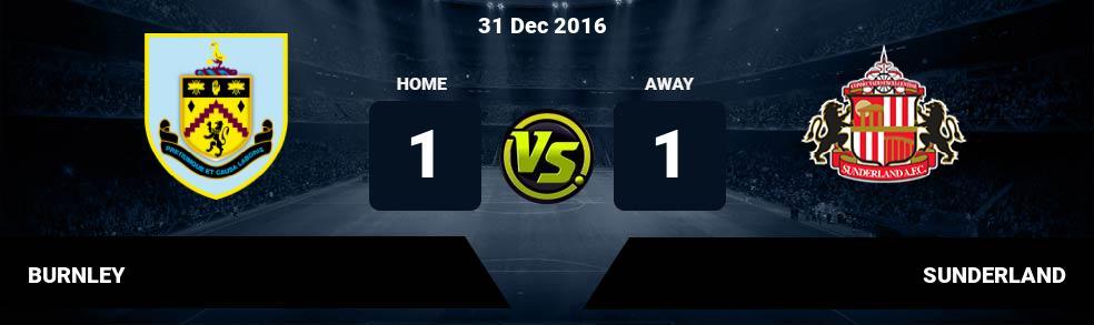 Prediksi BURNLEY vs SUNDERLAND 31 Dec 2016