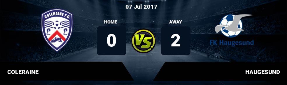 Prediksi COLERAINE vs HAUGESUND 07 Jul 2017