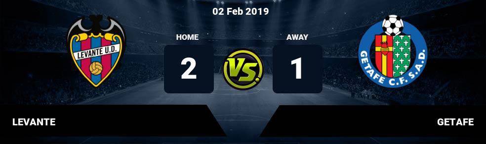 Prediksi LEVANTE vs GETAFE 02 Feb 2019