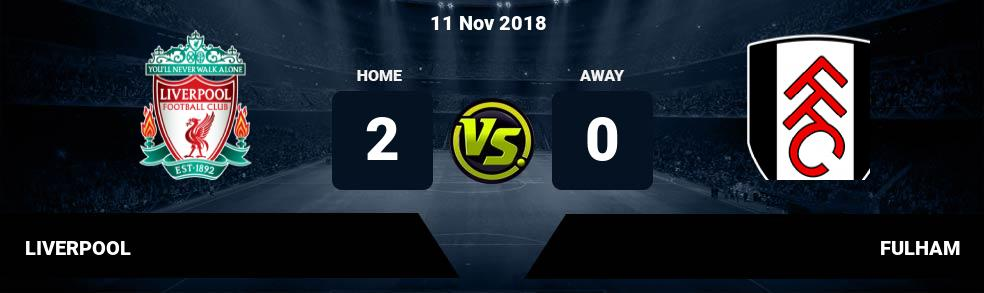Prediksi LIVERPOOL vs FULHAM 11 Nov 2018