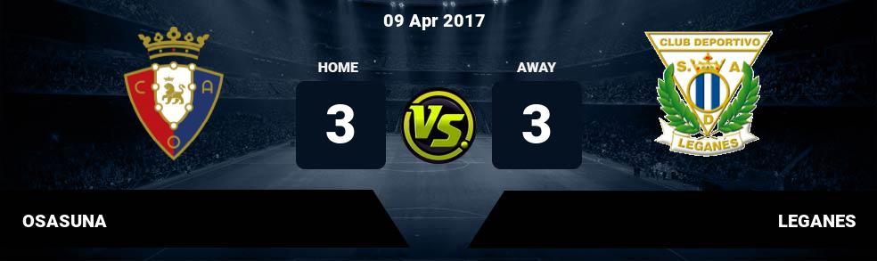 Prediksi OSASUNA vs LEGANES 09 Apr 2017
