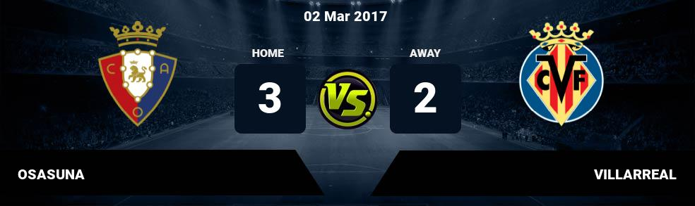 Prediksi OSASUNA vs VILLARREAL 02 Mar 2017