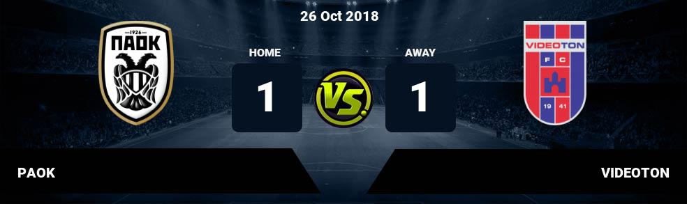 Prediksi PAOK vs VIDEOTON 26 Oct 2018