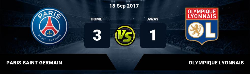 Prediksi PARIS SAINT GERMAIN vs OLYMPIQUE LYONNAIS 08 Oct 2018