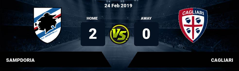 Prediksi SAMPDORIA vs CAGLIARI 24 Feb 2019