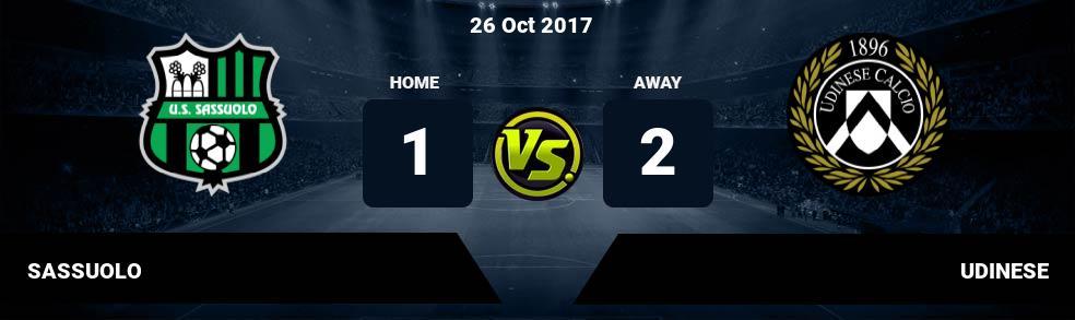 Prediksi SASSUOLO vs UDINESE 02 Dec 2018