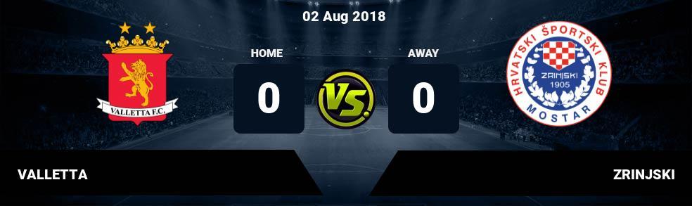 Prediksi VALLETTA vs ZRINJSKI 02 Aug 2018